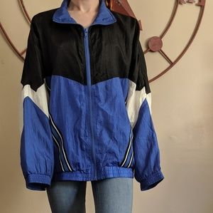 Vintage blue black 80s windbreaker size small